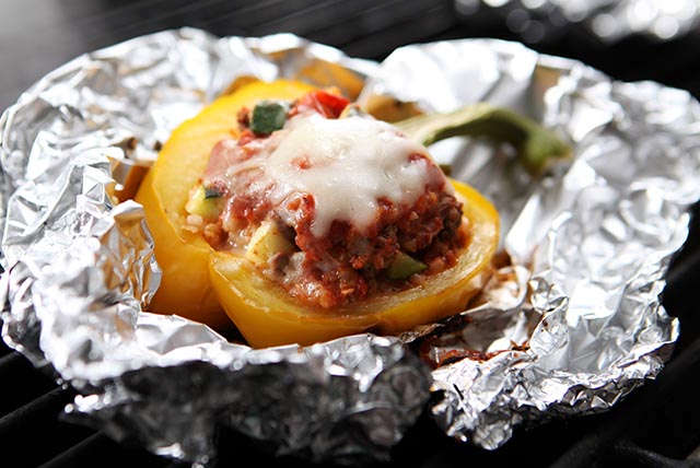 Cheesy Ground Beef and Zucchini Stuffed Peppers