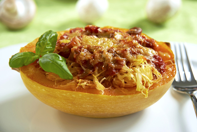 Cheesy Baked Spaghetti Squash with Mushroom Ragu