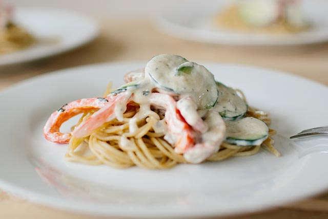 Spaghettis crémeux aux légumes Image 1