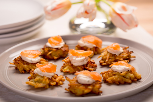 Potato Pancakes with Dill Cream Cheese and Salmon Image 1