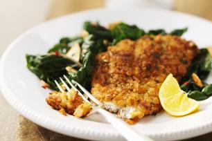 Crispy Fish with Sautéed Spinach