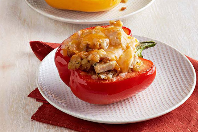 Turkey and Stuffing Stuffed Peppers