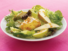 Baked Nut-Crusted Camembert & Pear Salad
