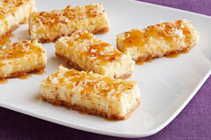 Coconut Cheesecake Squares with Caramel Topping Image 1