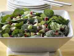 Spinach Salad with Apples and Pomegranate Seeds