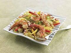 Sesame-Mango Slaw with Grilled Shrimp