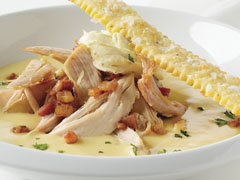 Creamy Chicken Soup with Whipped Marscapone & Mustard Cracker