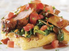 BBQ-Dijon Glazed Pork Tenderloin with Hominy Squares and Collard Greens
