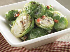 Creamy Brussels Sprouts with Bacon and Cheese