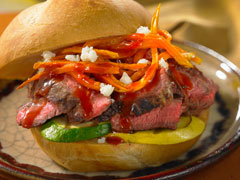 Chipotle Steak Sandwich with Sweet Potato Shoestring Fries