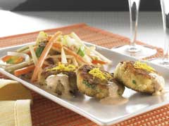 Mini Crab Cakes on Vegetable Slaw with Apple-Pecan Dressing