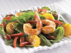 Spinach, Mandarin and Spiced Shrimp Salad with Mandarin Orange Dressing