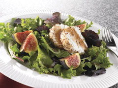 Hazelnut-Crusted Goat Cheese and Fig Salad with Balsamic Vinaigrette Dressing