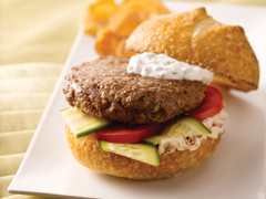 Feta-Stuffed Lamb Burger with Mediterranean Spread