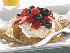 Orange Honey Blossom Oatmeal Pancakes with Fresh Fruit