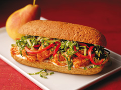 Red Curry-Glazed Salmon with Oriental Slaw on Whole Wheat Baguettes
