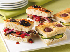 Cucumber-Cream Cheese Tea Sandwiches with Grape-Studded Focaccia Bread