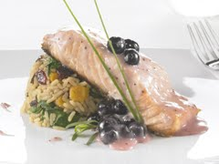 Slow-Roasted Salmon with Dried Fruit Pilaf & Wild Berry Sauce