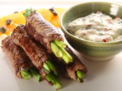 Steak & Scallion Rolls with Mediterranean Aioli