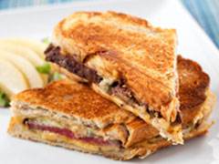 Steak & Bleu Grilled Cheese with Poached Pear Salad
