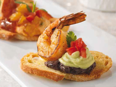Shrimp Crostini with Avocado Cream