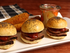 BBQ Beef Brisket Sliders with Mustard-Stout Sauce