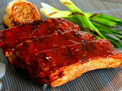 BBQ Pork Ribs with Roasted Garlic & Scallion Sauce