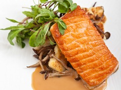 Salmon with Oriental Sesame Dressing and Wild Mushroom Gnocchi