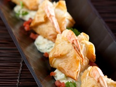 Phyllo-Wrapped Shrimp with Curried Tzatziki Sauce