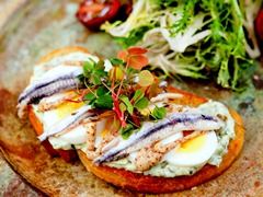 White Anchovy Bruschetta with Frisee Salad
