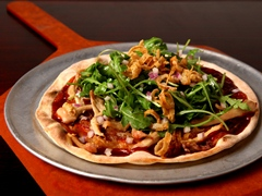 BBQ Chicken, Caramelized Onions & Arugula Flatbread