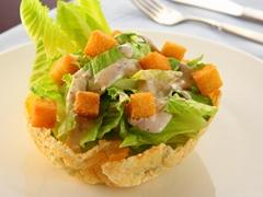 Caesar Salad in a Parmesan Bowl