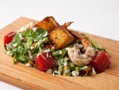 Shrimp Caesar with Pickled Watermelon & Cornbread Croutons