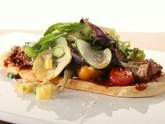 BBQ Turkey Burger Salad Flatbread