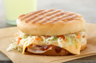 BBQ Turkey Panini with Creamy Coleslaw