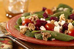 Baby Spinach, Beet and Toasted Walnut Salad Recipe - Kraft Recipes