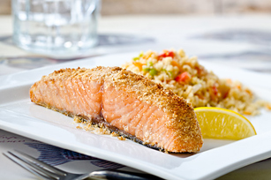 Baked Salmon on Confetti Couscous