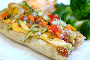 Barbecue Cheese Dogs with Veggie Slaw Relish