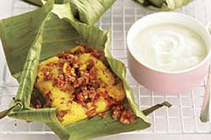 Beef 'n Cornbread Wrapped in Banana Leaves