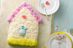 Cabane d'oiseaux en gâteau