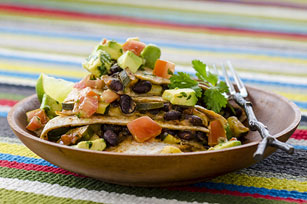Black Bean & Vegetable Quesadillas with Avocado-Tomato Salsa
