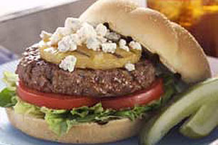 Blue Cheese Burger with Grilled Pineapple