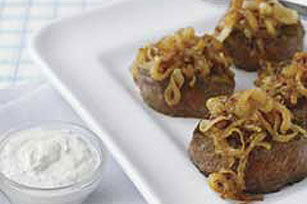 Caramelized Onion Topped Steaks with Creamy Horseradish Sauce