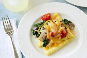 Omelettes pliées au cheddar et aux légumes