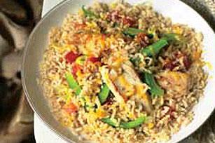 Cheddar Chicken, Rice & Broccoli Skillet