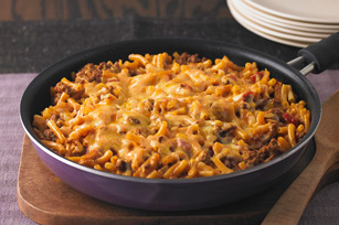 home recipes Cheesy Macaroni-Beef Skillet