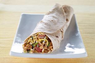 Burrito con pavo, arroz y queso