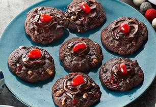 Cherry-Chocolate Volcano Cookies