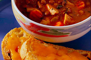 Chicken and Lentil Soup with Garlic-Cheese Toasts Image 1