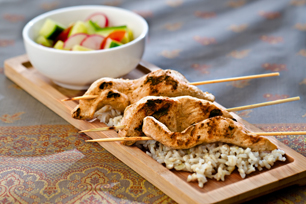 Chicken Satays on Rice with Cucumber Salad
